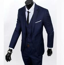 Men's Slim Tuxedo Business Formal Wedding Coat Leisure Blazer 3-Piece Solid Suit