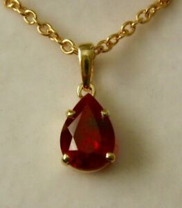 GENUINE  SOLID  9K  9ct YELLOW  Gold  Pear Shape RUBY  Pendant