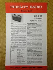 Fidelity RAD 16 Radio Service Card - Vintage Radio Audio 60's 70's 80's