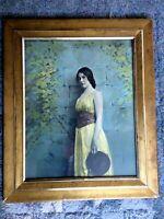 "Antique Hand Tinted Photo ""Bohemian Gypsy Girl w Tamborine"" Framed 26"" x 21"" GAC"