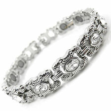 Ladies Crystals Magnetic Bracelet silver colour Rare Earth Magnets BIO therapy