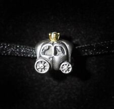 Genuine Pandora Silver, 14ct Gold and Pearl Carriage Charm Mint 790598P