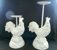 Syroco Wood 2 White Roosters Sconce Candle Holder Figurines Excellent w1s7