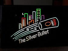 Large Vtg 1992 Coors Silver Bullet Beer City Skyline Light Up Electric Sign