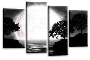 Landscape Canvas Wall Art Picture Black White Grey Big Moon Split 4 Panel