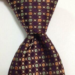 BRIONI Men's 100% Silk XL Necktie ITALY Luxury Geometric Purple/Green/Orange EUC