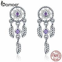 BAMOER Shining 925 Sterling Silver Earrings Find Dream With CZ For Women Jewelry