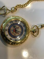 & Chain Dial President Of United States New Yellow Gold Tone Quartz Pocket Watch