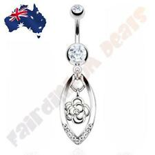 316L Surgical Steel Cz Gem Belly Ring with Clear Cz Gem Flower in Oval Dangle