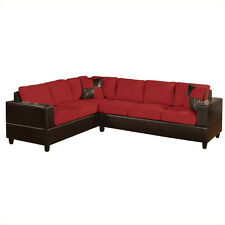 2 Piece Modern Large Red Microfiber and Faux Leather Sectional Sofa