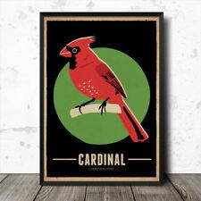 Cardinal Birds Vintage Retro Style Nature Poster Print