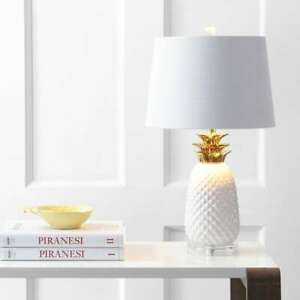 """Pineapple 23"""" Ceramic LED Table Lamp, White/Gold by JONATHAN Y"""