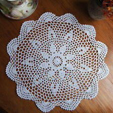 37cm White Cotton Yarn Round Hand Crocheted Lace Doily Placemat Flower Coasters
