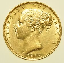 More details for scarce 1848 victoria shield back sovereign, british gold coin gef