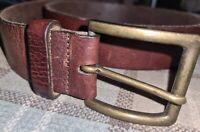 """Tommy Hilfiger cow leather designer belt Brass buckle Waist 32"""" to 36"""" Brown"""