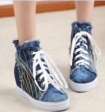 Girls Denim Jean Sneakers Athletic Hidden wedge Heel Sport Blue Boots  Plimsoll