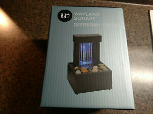 "Wayland Square Contemporary Fountain LED Raining Mirrored Wall 7"" X 4"" NEW"