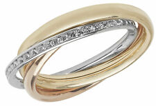 9CT HALLMARKED YELLOW WHITE & ROSE GOLD CHANNEL SET RUSSIAN WEDDING RING