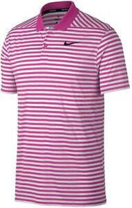 Nike Men's Dry Victory Polo Stripe Left Chest Large Pink/White