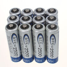 Lot of 12pcs High Quanlity BTY Ni-MH AA 2500mAh 1.2V Rechargeable 2A Battery