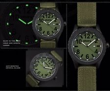 INFANTRY Mens Quartz Analog Wrist Watch Date Luminous Green Nylon Sports Army UK