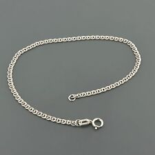 10K WHITE GOLD 2.4MM DOUBLE CURB LINK 7 INCH BRACELET FREE SHIPPING