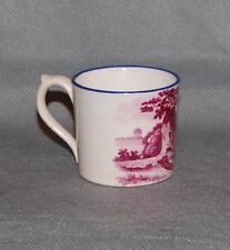 Antique English Puce Pink Transfer Printed Blue Rim Child's Mug Farm Family Mini