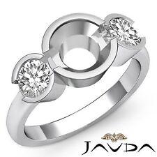 Excellent Diamond 3 Stone Engagement Ring Round Semi Mount 18k White Gold 0.6Ct
