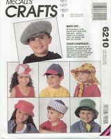 McCalls 6210 HATS OFF Kids Boys Girls Baby Caps summer pattern SM-LG UNCUT FF