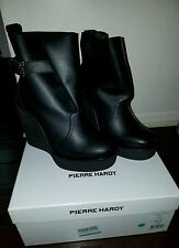 cfdd37241b4 Pierre Hardy Leather Platform Wedge Ankle BOOTS - Black