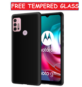 Black Case For Motorola Moto G30 Cover Gel Skin + Glass Screen Protector