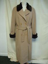 """Ladies Coat Roman Originals M, camel, bust 40"""", length 53"""", faux fur trims 2557"""