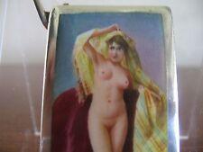 Silver vesta case match safe hand painted enamel nude harem girl.