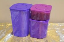 New Tupperware Fresh N Cool Set of 3 Modular Containers 2, 4 & 6 cups Purple