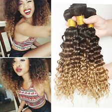 50g/Bundle Ombre #1B/4/27 Brazilian Curly Wave Wavy Remy Human Hair Extensions