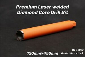 "Premium Laser welded Diamond Core Drill Bit 120mm x 450mm  1-1/4"" NUC"