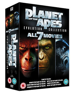 PLANET OF THE APES 7 MOVIE FILM EVOLUTION COMPLETE COLLECTION DVD Box Set NEW UK