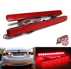 2x Honda Accord MK8 TSX Red Lens Rear Bumper Reflector LED Tail Stop Brake Light