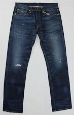 NWT NSF dunkelblau verblichen Distressed Denim Jeans gerades Bein