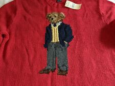 Vintage 2001 Red Teddy Bear Sweater Polo by Ralph Lauren NWT Men Large L