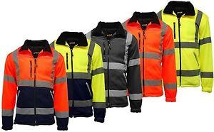 Mens Hi Vis Viz Visibility Premium Safety Work Fleece Lined Work Fleece Jacket