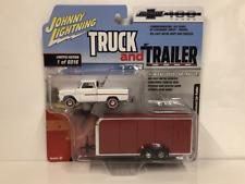 1965 Chevy Pickup with Enclosed Car Trailer 1:64 Scale Johnny Lightning JLBT007