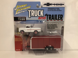 1965 Chevy Pick-Up Con da Incasso Auto Rimorchio 1:64 Scala Johnny Lightning