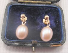 A Pretty Pair of Pearl Earrings in 9ct Yellow Gold