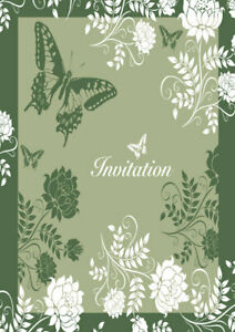 Butterfly and flowers in white & green 10 pack of invitation cards  any occasion