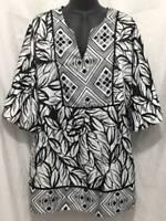 Lane Bryant Plus Size Top 14 16 1X Black Tunic V-Neck 3/4 Sleeve Womens 1558