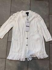 AKIRA White Sweater Style 5247 NWT Size Medium M Frayed Button