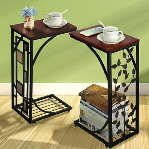 C Shaped Sofa Side Table Snack/Coffee End Table for Living Room/Bedroom Home