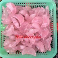 5PCS Natural rose crystal moon type hand-polished reiki healing decoration
