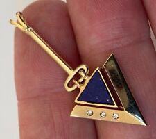 Hermosa inusual gran Vintage 18CT Oro Amarillo lapislázuli y Diamante Colgante
